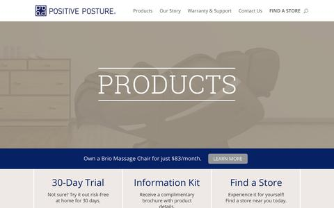 Screenshot of Products Page positiveposture.com - The Best Ergonomic Recliners, Executive Office Chairs & Massage Chairs | Positive Posture - captured July 20, 2018