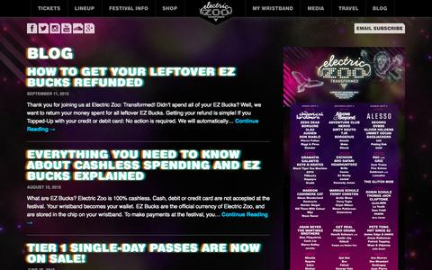 Screenshot of Blog electriczoofestival.com - Blog | Electric Zoo: Transformed - captured Sept. 29, 2015
