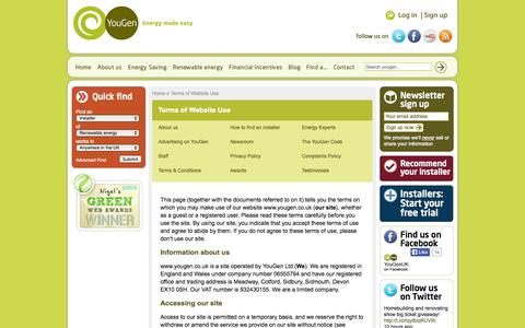 Screenshot of Terms Page yougen.co.uk - Terms of Website Use, Microgeneration, Domestic Wind Turbines, Hydro Electric Supplier, Wood Pellet Boilers, Solar Photovoltaic | YouGen, Renewable Energy Made Easy - captured Sept. 23, 2014