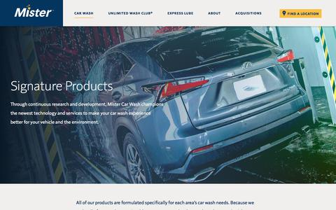 Screenshot of Products Page mistercarwash.com - Signature Products – Mister - captured Nov. 8, 2017