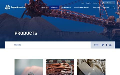 Screenshot of Products Page angloamerican.com - Products – Anglo American - captured July 13, 2019
