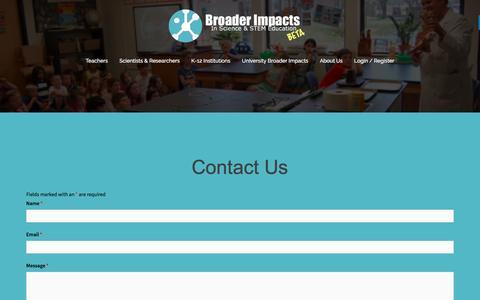 Screenshot of Contact Page makebroaderimpacts.org - Contact Broader Impacts - Broader Impacts - captured July 22, 2016