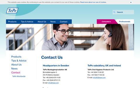 Screenshot of Contact Page tepe.com - TePe contact information and customer service | TePe - captured Nov. 30, 2016