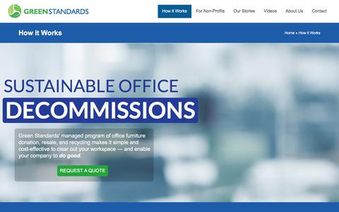 Screenshot of Services Page greenstandardsltd.com - Office Furniture Recycling, Resale, Donation | Green Standards - captured July 24, 2018