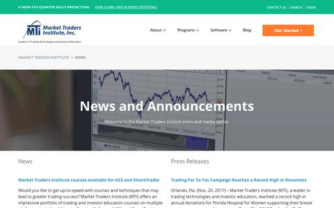 Screenshot of Press Page markettraders.com - News | Market Traders Institute - captured Dec. 6, 2017