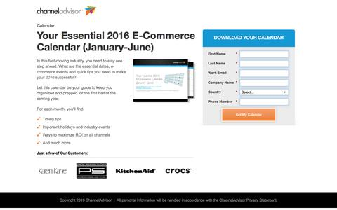Screenshot of Landing Page channeladvisor.com - Your Essential 2016 E-Commerce Calendar (January-June) | ChannelAdvisor - captured May 18, 2017