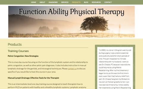 Screenshot of Products Page functionabilitypt.com - Products - Function Ability Physical Therapy - captured Oct. 14, 2017