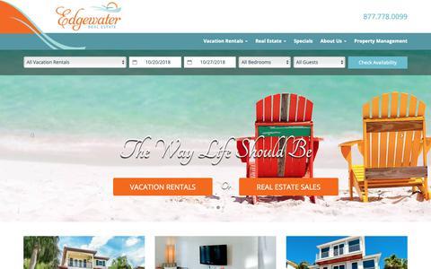 Screenshot of Home Page edgewatervacationhomes.com - Anna Maria Island Vacation Rentals | Bradenton Beach Vacation Homes - captured Oct. 21, 2018