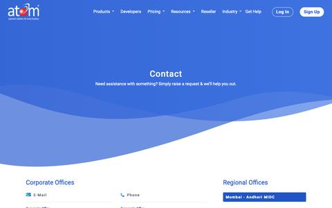 Screenshot of Contact Page atomtech.in - Contact Us | atom technologies ltd. - captured Nov. 8, 2018