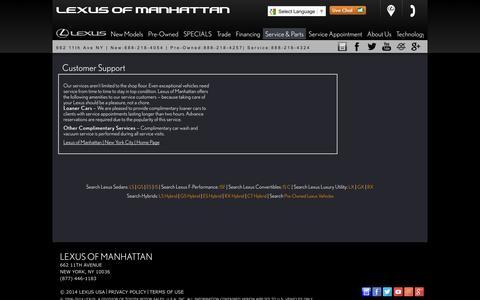 Screenshot of Support Page lexusofmanhattan.com - Customer Service Department from Lexus of Manhattan - captured Sept. 30, 2014