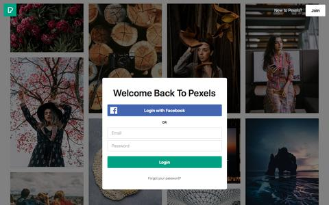 Screenshot of Login Page pexels.com - Free stock photos · Pexels - captured June 27, 2019