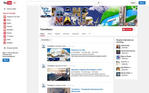 Screenshot of YouTube Page youtube.com - TransNatur  - YouTube - captured Oct. 26, 2014