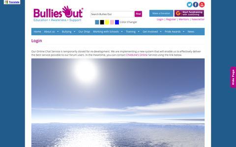 Screenshot of Login Page bulliesout.com - Login - Bullies Out - captured Sept. 30, 2014
