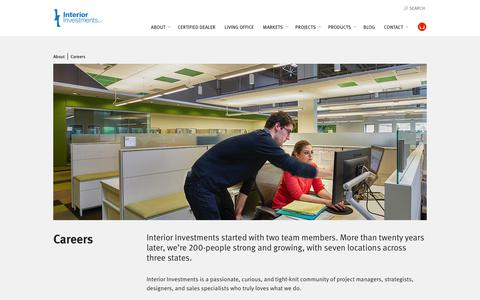Screenshot of Jobs Page interiorinvestments.com - Careers | Interior Investments | Interior Investments - captured Sept. 19, 2018