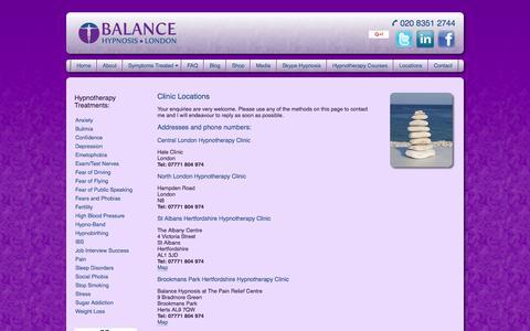 Screenshot of Locations Page balancehypnosislondon.co.uk - Contact Balance Hypnosis London - captured April 15, 2016