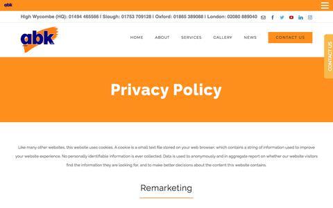 Screenshot of Privacy Page abkltd.co.uk - Privacy Policy ABK Ltd - captured July 28, 2018