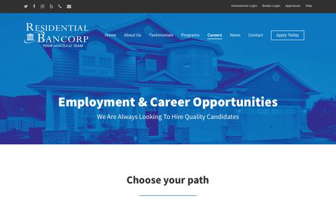 Screenshot of Jobs Page bancorp.com - Careers – Residential Bancorp - captured June 13, 2018