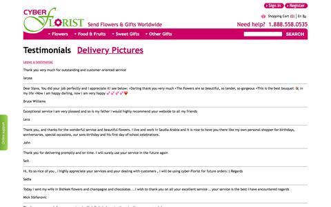 Screenshot of Testimonials Page cyber-florist.com - Testimonials of Cyber florist - captured Dec. 4, 2016