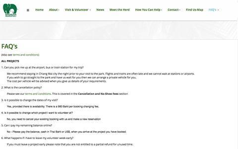 Screenshot of FAQ Page elephantnaturepark.org - FAQ's - Elephant Nature Park Booking System - captured May 16, 2017