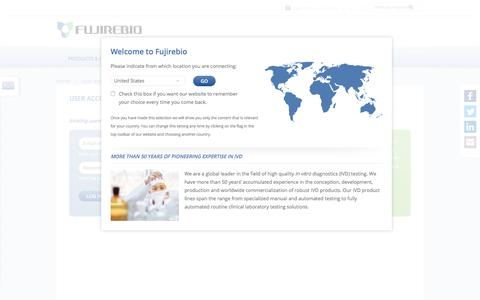 Screenshot of Login Page fujirebio-europe.com - User account | Fujirebio Europe - captured Nov. 25, 2016