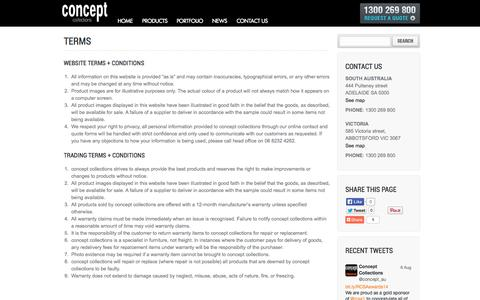 Screenshot of Terms Page conceptcollections.com.au - Terms | Concept Collections - captured Sept. 30, 2014