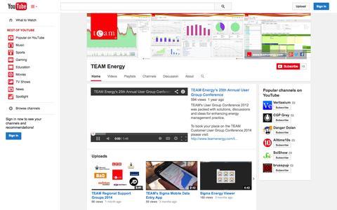 Screenshot of YouTube Page youtube.com - TEAM Energy  - YouTube - captured Oct. 22, 2014