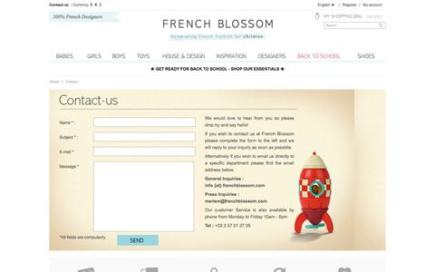Screenshot of Contact Page frenchblossom.com - Contact us - French Blossom - captured Sept. 24, 2014