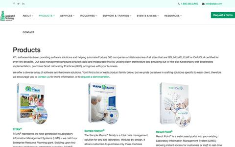 Screenshot of Products Page atlab.com - Products - captured Feb. 14, 2019