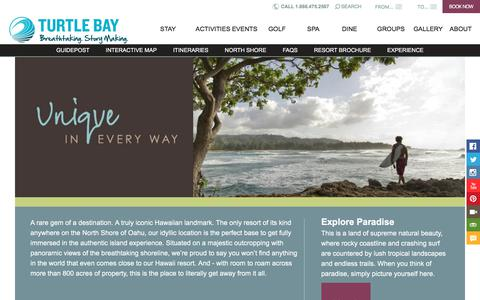 Screenshot of About Page turtlebayresort.com - Oahu Resorts | Explore Turtle Bay Resort on Oahu - captured Sept. 21, 2018