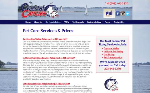 Screenshot of Pricing Page coastalcanines.com - Pet Care & Dog Walking Services and Prices - captured Aug. 9, 2017
