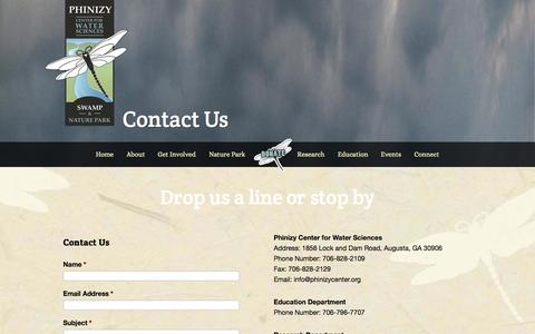 Screenshot of Contact Page phinizycenter.org - Contact Us - captured Oct. 9, 2014