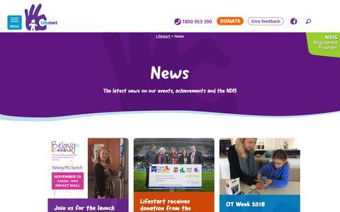 Screenshot of Press Page lifestart.org.au - News - Lifestart - captured Nov. 10, 2018