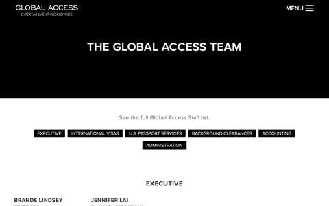 Screenshot of Team Page globalaxs.net - Global Access Entertainment WorldWide ~ Visas & Work Permits - captured Sept. 28, 2018