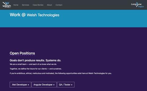 Screenshot of Jobs Page welshtechnologies.com - | Welsh - captured Sept. 25, 2018