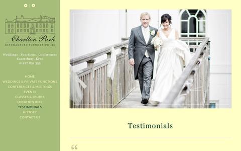 Screenshot of Testimonials Page charlton-park.org - CHARLTON PARK TESTIMONIALS | KENT | CANTERBURY - captured Nov. 5, 2016