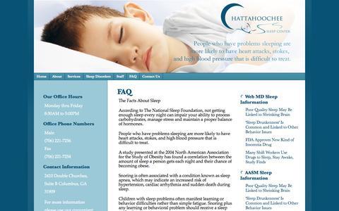 Screenshot of FAQ Page chattahoocheesleepcenter.com - FAQ «  Chattahoochee Sleep Center - captured Oct. 27, 2014