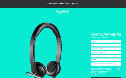 Screenshot of Landing Page logitech.com - Logitech H650e Headset | Contact Us - captured Sept. 21, 2018