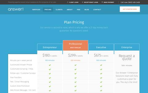 Screenshot of Pricing Page answer1.com - Virtual Receptionist Plans & Pricing   Answer 1 - captured Nov. 21, 2016