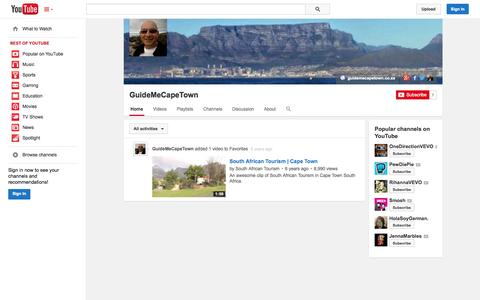 Screenshot of YouTube Page youtube.com - GuideMeCapeTown  - YouTube - captured Oct. 23, 2014