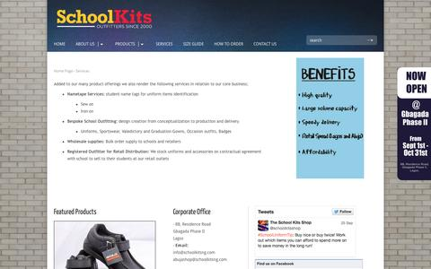 Screenshot of Services Page schoolkitsng.com - Services | School Kits - captured Nov. 2, 2014