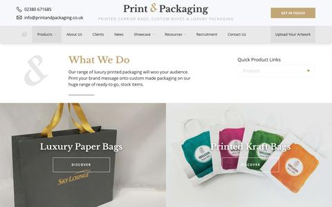 Screenshot of Products Page printandpackaging.co.uk - Printed Bags & Luxury Branded Packaging | Print & Packaging - captured Sept. 1, 2017