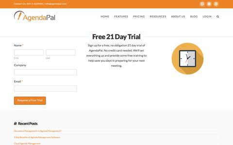 Screenshot of Trial Page agendapal.com - Free Trial | AgendaPal - captured Feb. 5, 2016