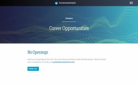 Screenshot of Jobs Page mosswarner.com - Careers Archive - MossWarner - captured Nov. 19, 2018