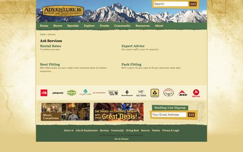 Screenshot of Services Page adventure16.com - A16 Services - Adventure 16, Southern California's Outdoor Experts. - captured Sept. 19, 2014