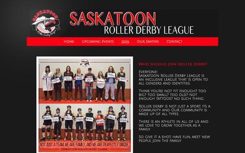Screenshot of Signup Page saskatoonrollerderby.com - Saskatoon Roller Derby League - Join - captured Nov. 28, 2018