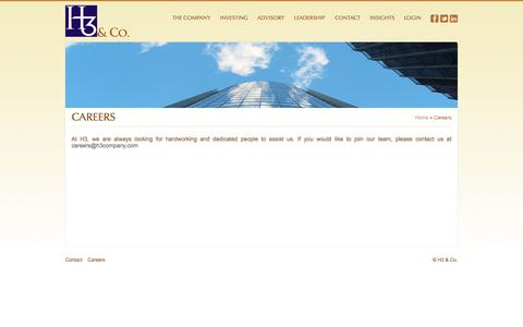 Screenshot of Jobs Page h3company.com - Careers | H3 & Co. - captured Oct. 1, 2014