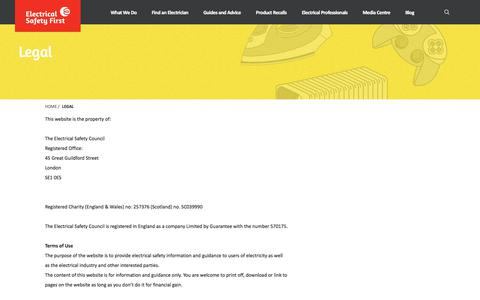 Screenshot of Terms Page electricalsafetyfirst.org.uk - Legal   Electrical Safety First - captured July 17, 2018