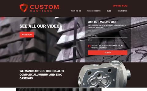 Screenshot of Home Page customcastings.com - Custom Castings - Your Permanent Mold Aluminum Castings Provider - captured Sept. 29, 2018