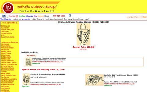 Screenshot of catholicrubberstamps.com - Catholic Rubber Stamps - captured June 14, 2016