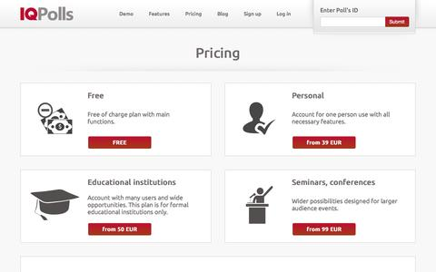 Screenshot of Pricing Page iqpolls.com - IQ Polls - Pricing - captured Sept. 30, 2014